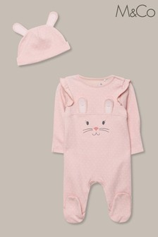 M&Co Pink Pop Up Bunny Romper And Hat
