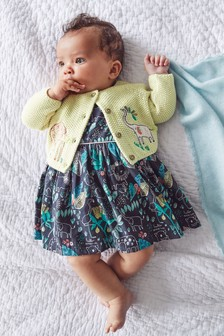 GOTS Organic Cotton Printed Prom Dress With Matching Knickers (0mths-2yrs)