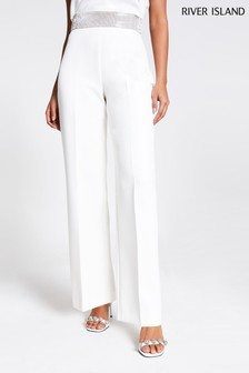 River Island White Heat Seal Wide Leg Trousers