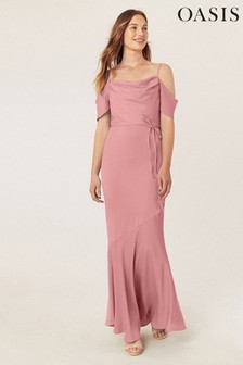Oasis Pink Amy Slinky Cowl Neck Maxi Dress*
