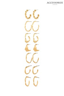 Accessorize Gold Mega Hoop Earrings Set