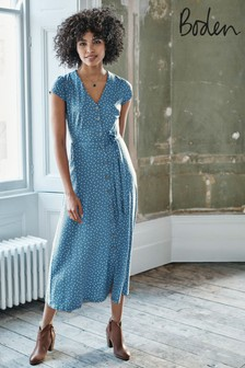 Boden Blue Frances Jersey Midi Dress