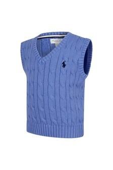 Ralph Lauren Kids Baby Boys Blue Cotton Vest