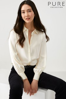 Pure Collection White Silk Satin Shirt
