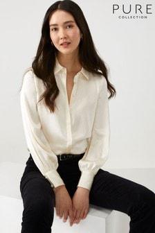 قميص ستان أبيض حرير من Pure Collection