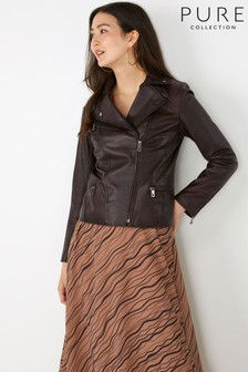 Pure Collection Brown Leather Biker Jacket