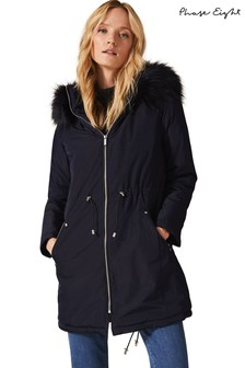 Phase Eight Blue Florentine Faux Fur Hooded Parka