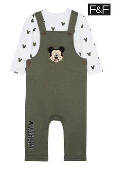 F&F Khaki Mickey Mouse™ Dungaree Set