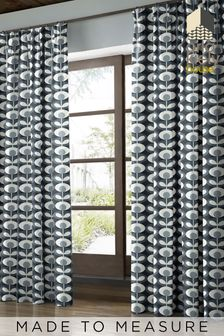 Oval Flower Cool Grey Made To Measure Curtains by Orla Kiely