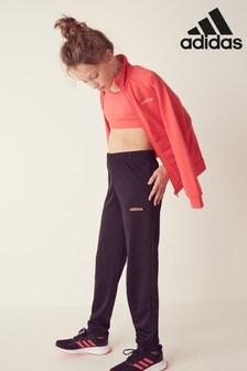 adidas Pink/Black Linear Logo Poly Tracksuit