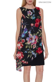 Gina Bacconi Black Esra Dress With Overlay