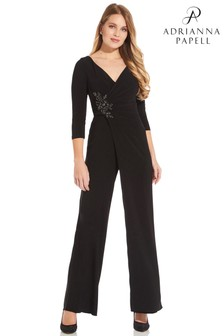 Adrianna Papell Black Shirred Jersey Jumpsuit