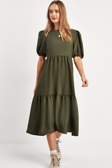 Tiered Puff Sleeve Midi Dress