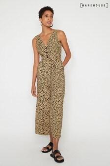 Warehouse Leopard Print Culotte Jumpsuit