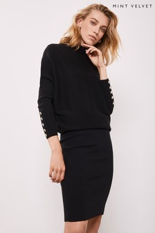 Mint Velvet Black Button Detail Knit Dress
