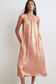 Metallic Halter Midi Dress