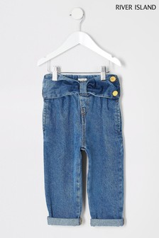 River Island Blue Bow Mom Jeans