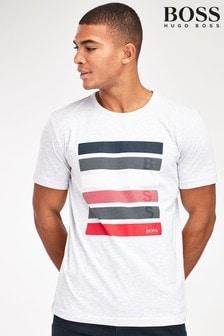חולצת טי עם הדפס ופסים של BOSS