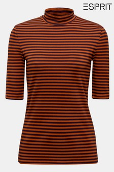 Esprit Striped 3/4 Sleeve Turtle Neck T-Shirt