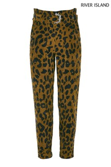 River Island Cord Leopard Paperbag Trousers