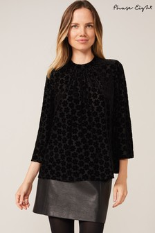 Phase Eight Black Daisy Burnout Top
