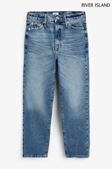 River Island Mid Wash High Rise Blair Split Hem Jeans
