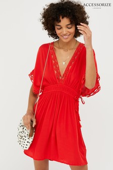 Accessorize Red Geo Lace Kaftan