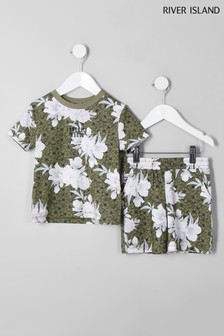 River Island Khaki Floral Print Tee And Short Set