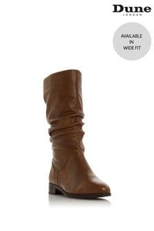 Dune London Wide Fit Tan Rosalinda Ruched Calf Boots