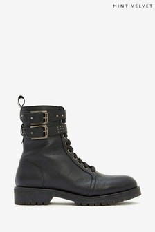 Mint Velvet Brooke Black Leather Boots