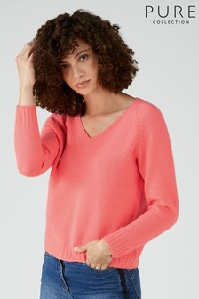 Pure Collection Pink Cashmere Lofty V-Neck Sweatshirt