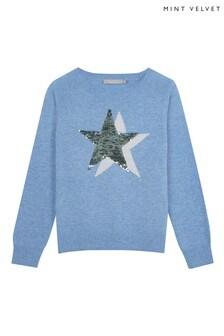 Mintie by Mint Velvet Blue Star Front Sequin Jumper