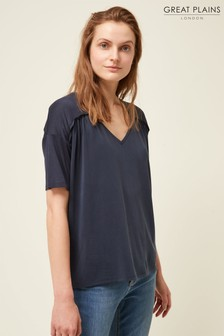 Great Plains Blue Leah Jersey V-Neck T-Shirt