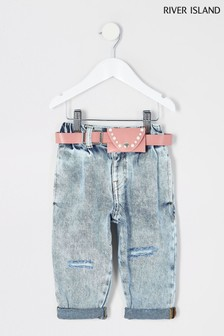 River Island Blue Acid Wash Pocket Belt Mom Jeans