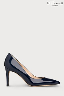 L.K.Bennett Blue Floret Patent Leather Pointed Toe Courts