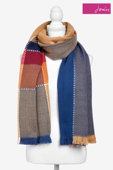 Joules Brown Stamford Soft Handle Scarf