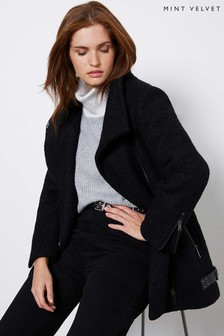 Mint Velvet Black Bouclé Biker Coat