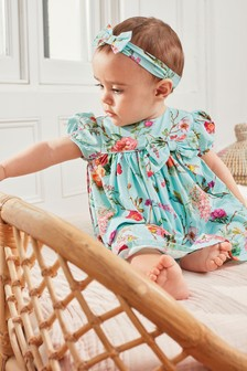 Floral Prom Dress With Knickers And Headband (0mths-2yrs)