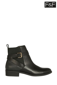 F&F Black Strap And Buckle Boots
