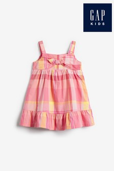 Gap Oversized Check Bow Front Dress