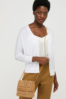 Monsoon White Ellie Linen Blend Cardigan
