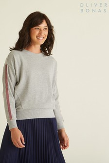 Oliver Bonas Grey Sparkle Trim Sweatshirt