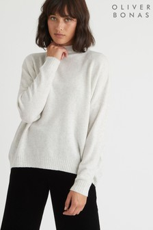 Oliver Bonas Grey High Neck Curved Hem Jumper