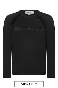Givenchy Kids Girls Black Long Sleeve Jersey T-Shirt