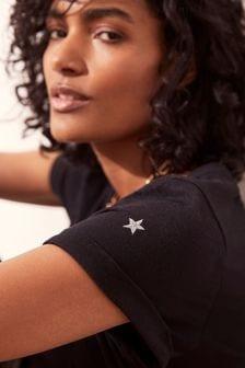 Mint Velvet Navy Cotton Star T-Shirt