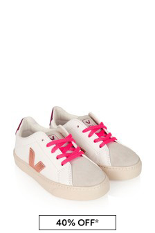 Girls White Venus Rose Esplar Lace Trainers