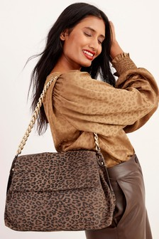 Leather Chunky Chain Shoulder Bag