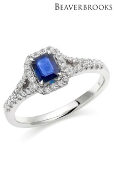 Beaverbrooks 18ct White Gold Diamond And Sapphire Cluster Ring