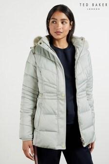 Ted Baker Maliiva Faux Fur Hood Cinched Waist Padded Coat