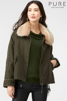 Pure Collection Green Faux Fur Collar Parka